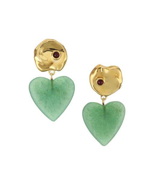 Lizzie Fortunato - Metallic Venice 18k Goldplated Green Quartz & Garnet Drop Earrings - Lyst