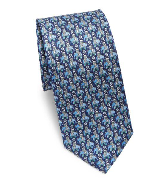 Ferragamo - Blue Arabian Elephant Silk Tie for Men - Lyst