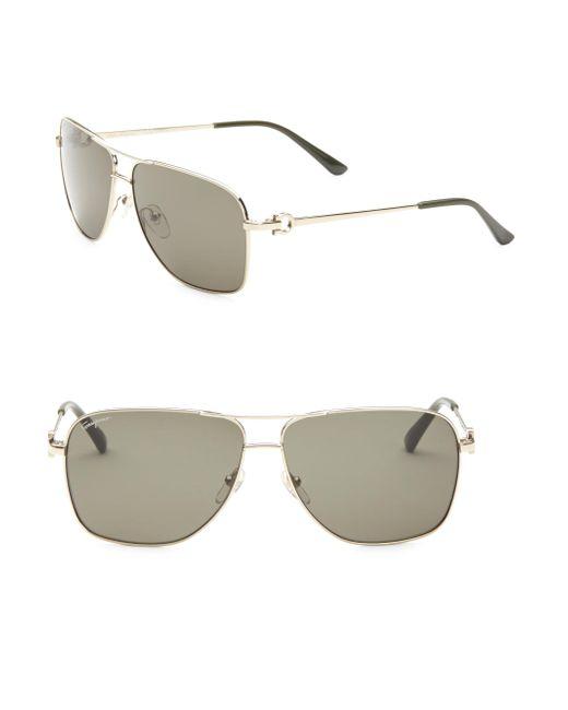 Ferragamo Metallic Aviator Sunglasses for men