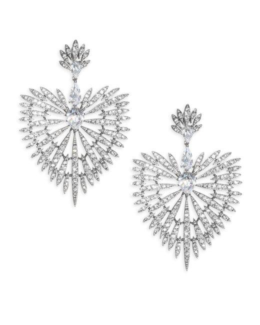 Adriana Orsini - Metallic Crystal Burst & Rhodium-plated Drop Earrings - Lyst