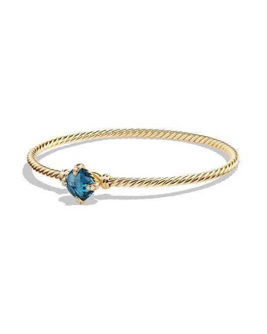 David Yurman - Metallic Chatelaine Bracelet With Hampton Blue Topaz And Diamonds In 18k Gold, 8mm - Lyst