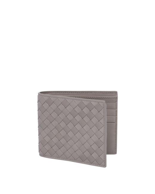 Bottega Veneta - Gray Leather Woven Wallet for Men - Lyst