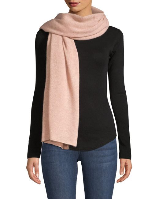White + Warren Pink Mini Cashmere Travel Wrap Scarf
