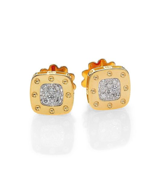 Roberto Coin Metallic Pois Moi Diamond & 18k Yellow Gold Square Earrings