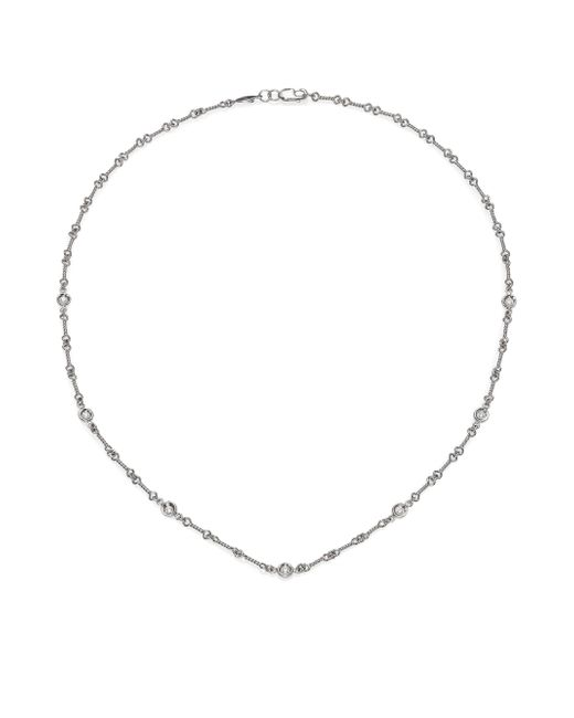 Roberto Coin - Metallic Diamond & 18k White Gold Station Necklace/16 - Lyst