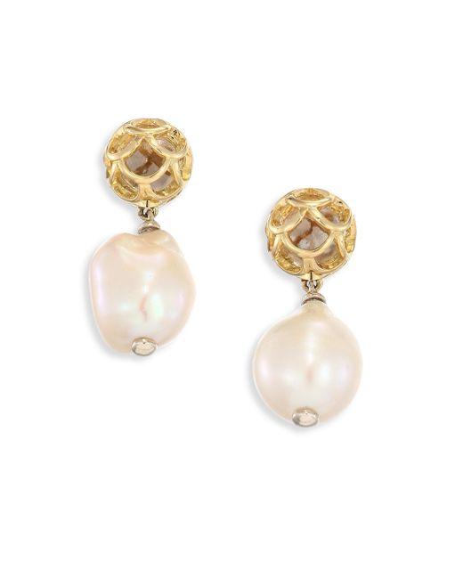 John Hardy - Metallic Legends Naga 11m White Baroque Pearl & 18k Yellow Gold Drop Earrings - Lyst