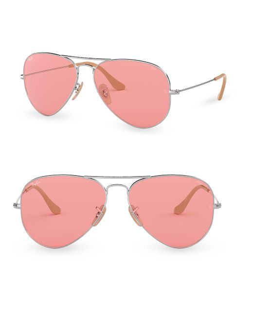Ray-Ban - Pink 58mm Aviator Sunglasses for Men - Lyst