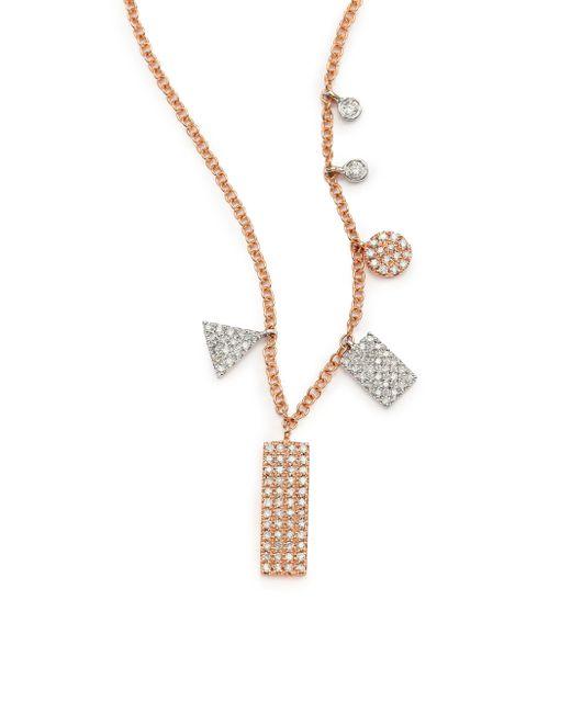 Meira T - Pink Diamond & 14k Rose Gold Geometric Charm Necklace - Lyst