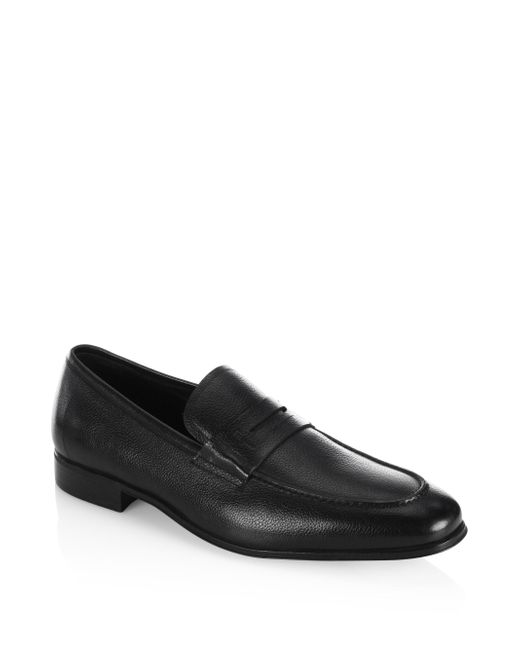 Ferragamo - Black Fiorino 2 Textured Leather Penny Loafers for Men - Lyst