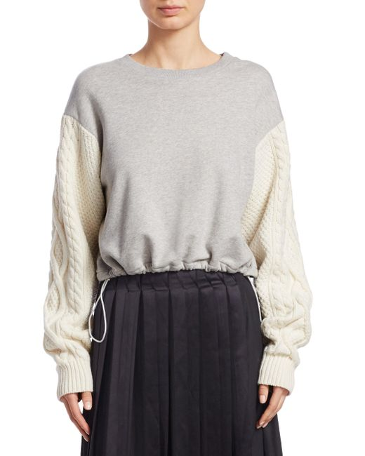 3.1 Phillip Lim - Gray French Terry Sweatshirt - Lyst
