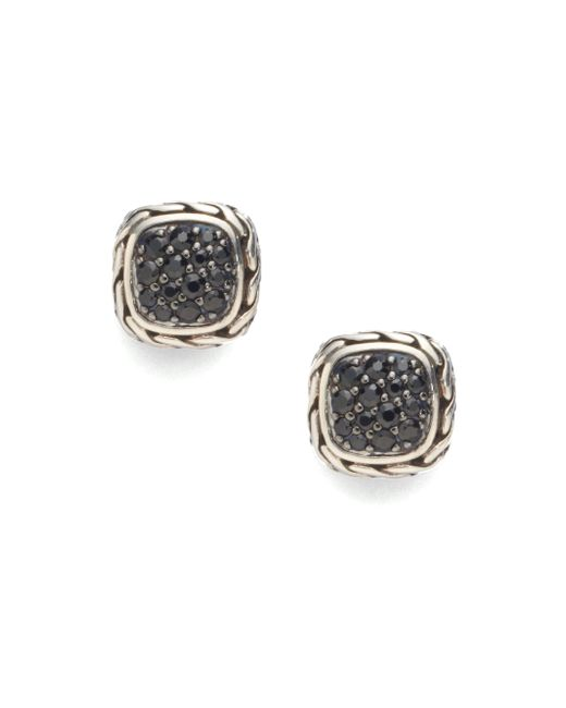 John Hardy - Metallic Classic Chain Black Sapphire & Sterling Silver Small Square Earrings - Lyst
