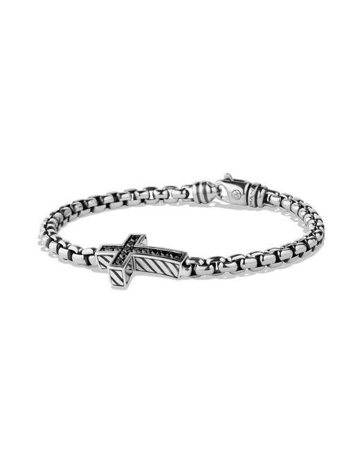 David Yurman - Metallic Pavé Black Diamond Cross Bracelet for Men - Lyst