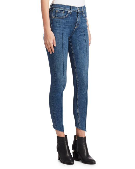 Lyst Rag Amp Bone High Rise Pintuck Ankle Skinny Jeans In Blue