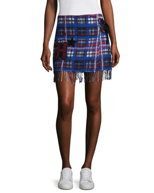 Tommy Hilfiger - Blue Tartan Fringe Mini Skirt - Lyst