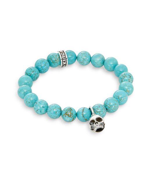 King Baby Studio - Blue Turquoise & Sterling Silver Beaded Skull Charm Bracelet - Lyst