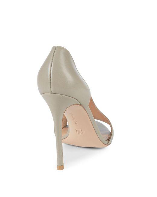 3c7e05325f98 ... Gianvito Rossi - Gray Leather Cutout Sandals - Lyst ...