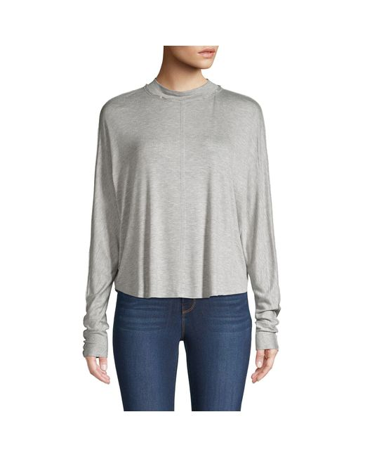 Project Social T Gray High-low Dolman-sleeve Top