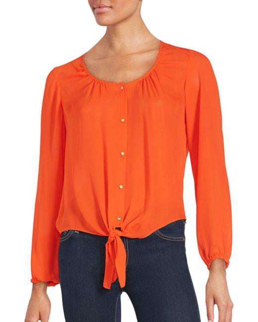 Chaus New York - Orange Knotted Hem Long Sleeve Blouse - Lyst