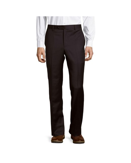 Saks Fifth Avenue Blue Micronosphere Solid Wool Trousers for men