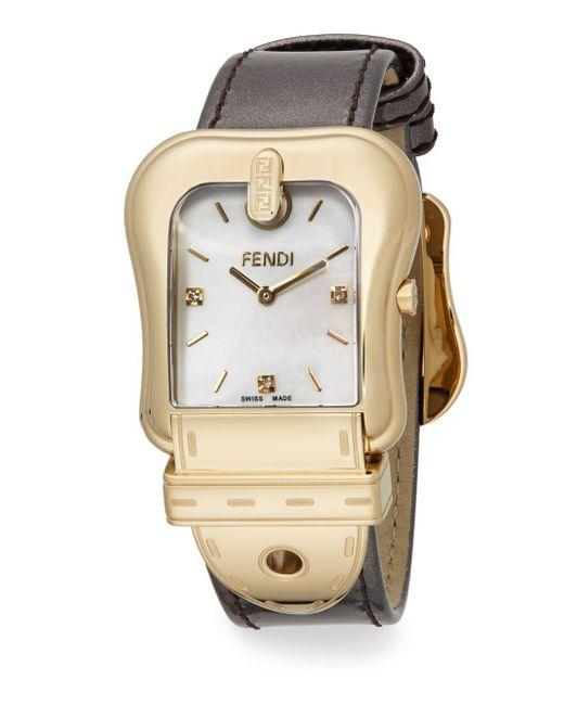 Fendi | Metallic B. Goldtone Ip & Leather Buckle Watch | Lyst