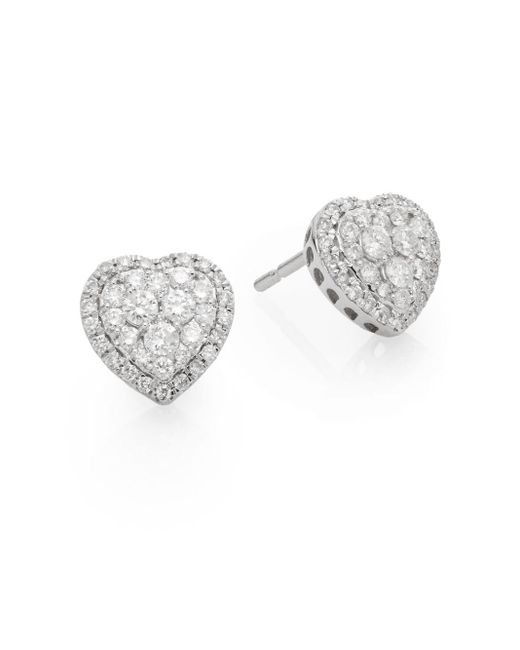 Saks Fifth Avenue | Metallic 0.51 Tcw Diamond & 14k White Gold Heart Stud Earrings | Lyst
