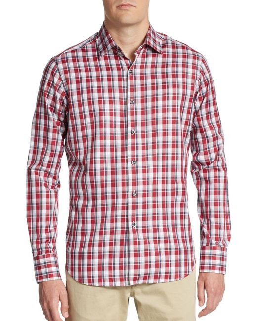 Saks Fifth Avenue | Purple Regular-fit Plaid Cotton Sportshirt for Men | Lyst