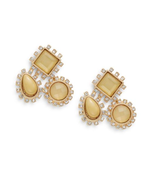 Lydell NYC | Metallic Triple-stone Cluster Stud Earrings/yellow | Lyst