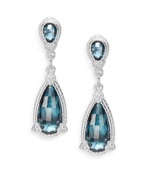 Judith Ripka | Fontaine London Blue Spinel & White Sapphire Pear Drop Earrings | Lyst