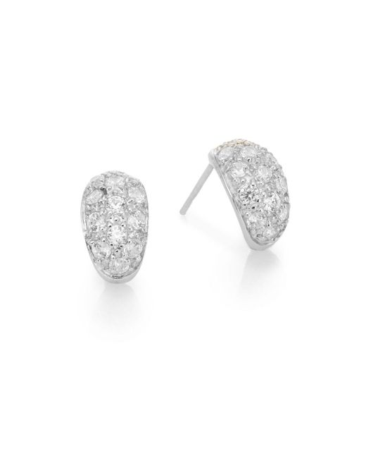 Ak Anne Klein | Metallic Sterling Silver Pavé Tapered Drop Earrings | Lyst