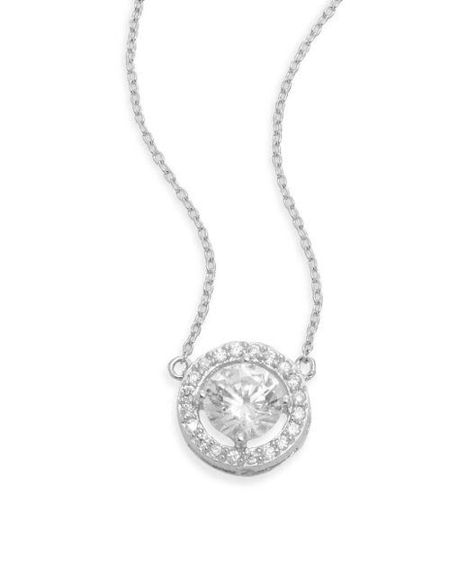 Ak Anne Klein | Metallic Sterling Silver Framed Stud Pendant Necklace | Lyst
