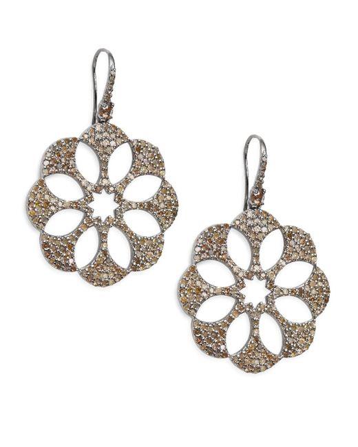 Bavna | Metallic 5.32 Tcw Pavé Champagne Diamond & Sterling Silver Floral Cutout Earrings | Lyst