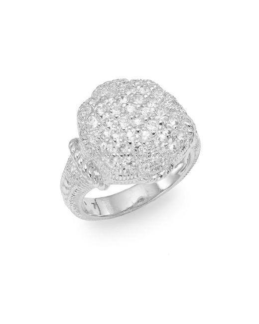 Judith Ripka | Metallic Fleur Pavé White Sapphire & Sterling Silver Ring | Lyst