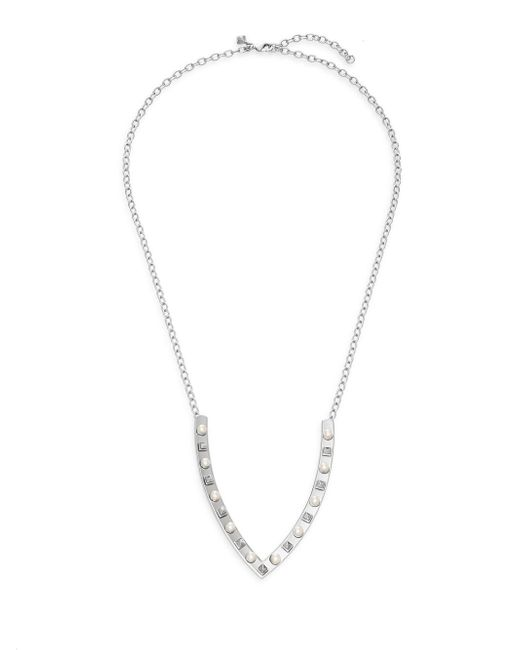 Rebecca Minkoff | Metallic Faux Pearl & Stud V-pendant Necklace | Lyst