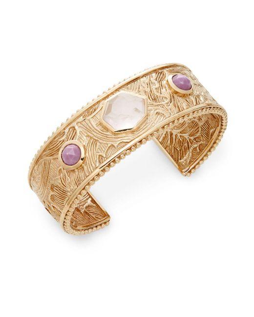 Stephen Dweck   Metallic Rose Quartz, Phosphosiderite & Bronze Carved Cuff Bracelet   Lyst