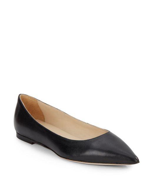 Halston | Black Leather Point-toe Flats | Lyst