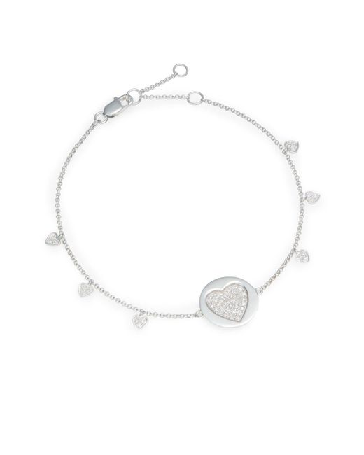 Effy | Final Call Diamond & 14K White Gold Heart Charm Bracelet | Lyst