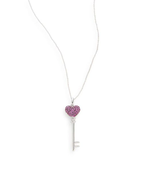 Effy | Red Final Call Ruby, Diamond & 14k White Gold Heart Key Necklace | Lyst