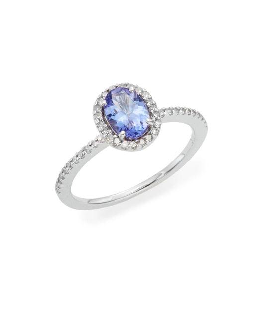 Effy   Blue Tanzanite, Diamond & 14k White Gold Halo Ring   Lyst