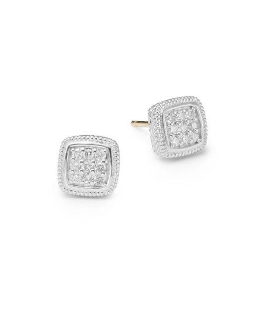 Judith Ripka | Metallic Natalie 0.27 Tcw Diamond & Sterling Silver Cushion Stud Earrings | Lyst