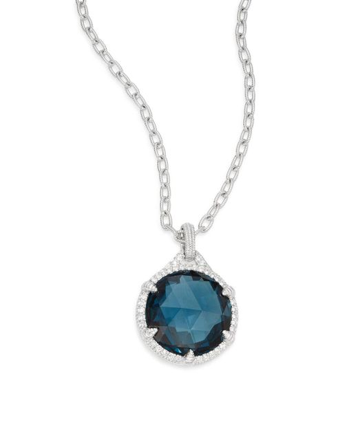Judith Ripka | Eclipse London Blue Spinel, White Sapphire & Sterling Silver Pendant Necklace | Lyst