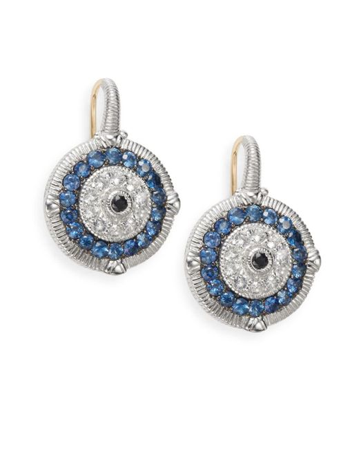 Judith Ripka | Lucky Blue, White & Black Sapphire Evil Eye Earrings | Lyst