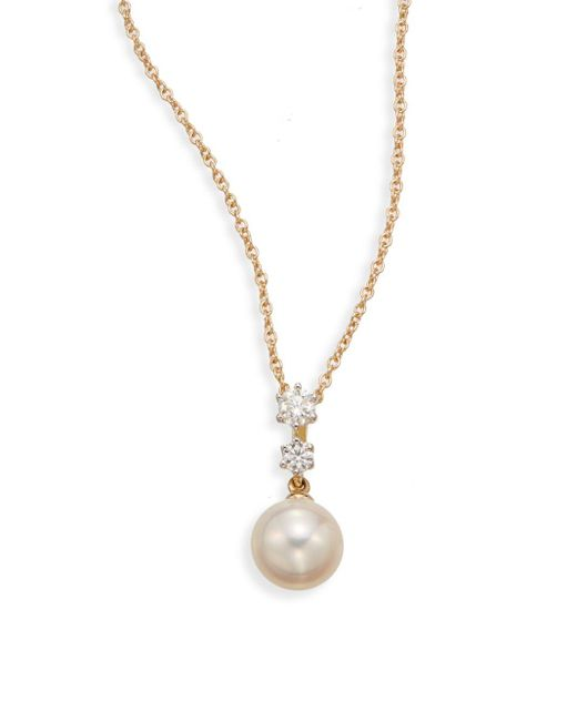 Saks Fifth Avenue | Metallic 7.5-8mm Cultured White Pearl, Diamond & 18k Yellow Gold Pendant Necklace | Lyst