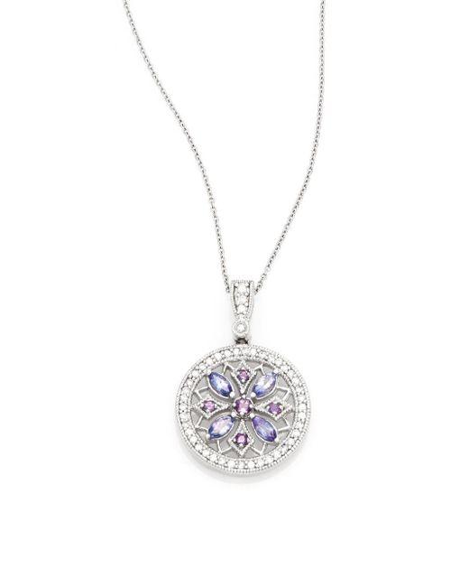 Effy   Purple Diamond, Amethyst, Tanzanite & 14k White Gold Medallion Pendant Necklace   Lyst