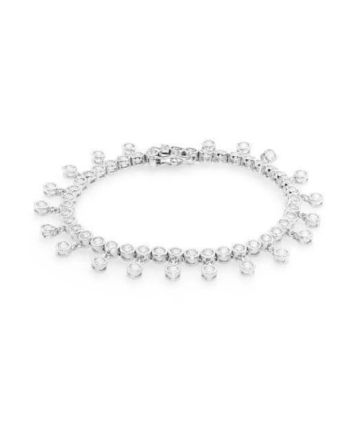 CZ by Kenneth Jay Lane | Metallic Dangle White Stone Bracelet | Lyst