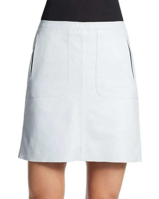 French Connection | Blue Eddy Leather Mini Skirt | Lyst