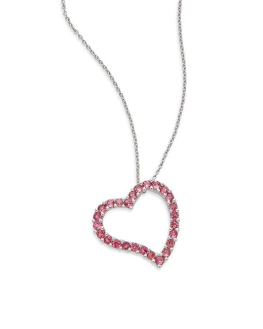 Effy | Pink Tourmaline & 14k White Gold Open Heart Pendant Necklace | Lyst