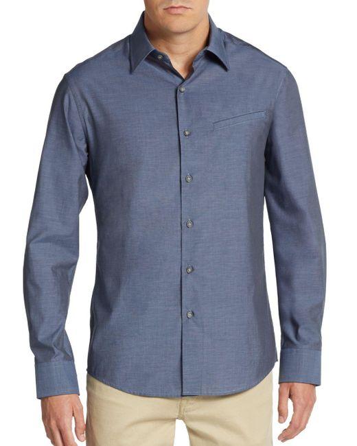Vince Camuto   Blue Regular-fit Mock-pocket Sportshirt for Men   Lyst