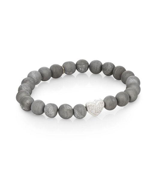 Anzie | Gray Boheme Druzy Quartz & Sterling Silver Bracelet | Lyst