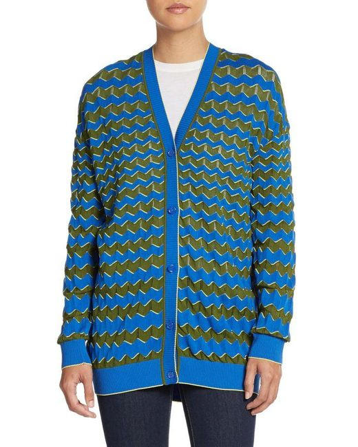 M Missoni | Blue Zig Zag-striped Cardigan | Lyst
