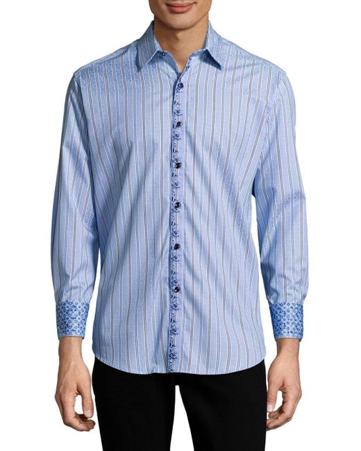 Robert graham casual striped button down shirt in blue for for Striped button down shirts for men